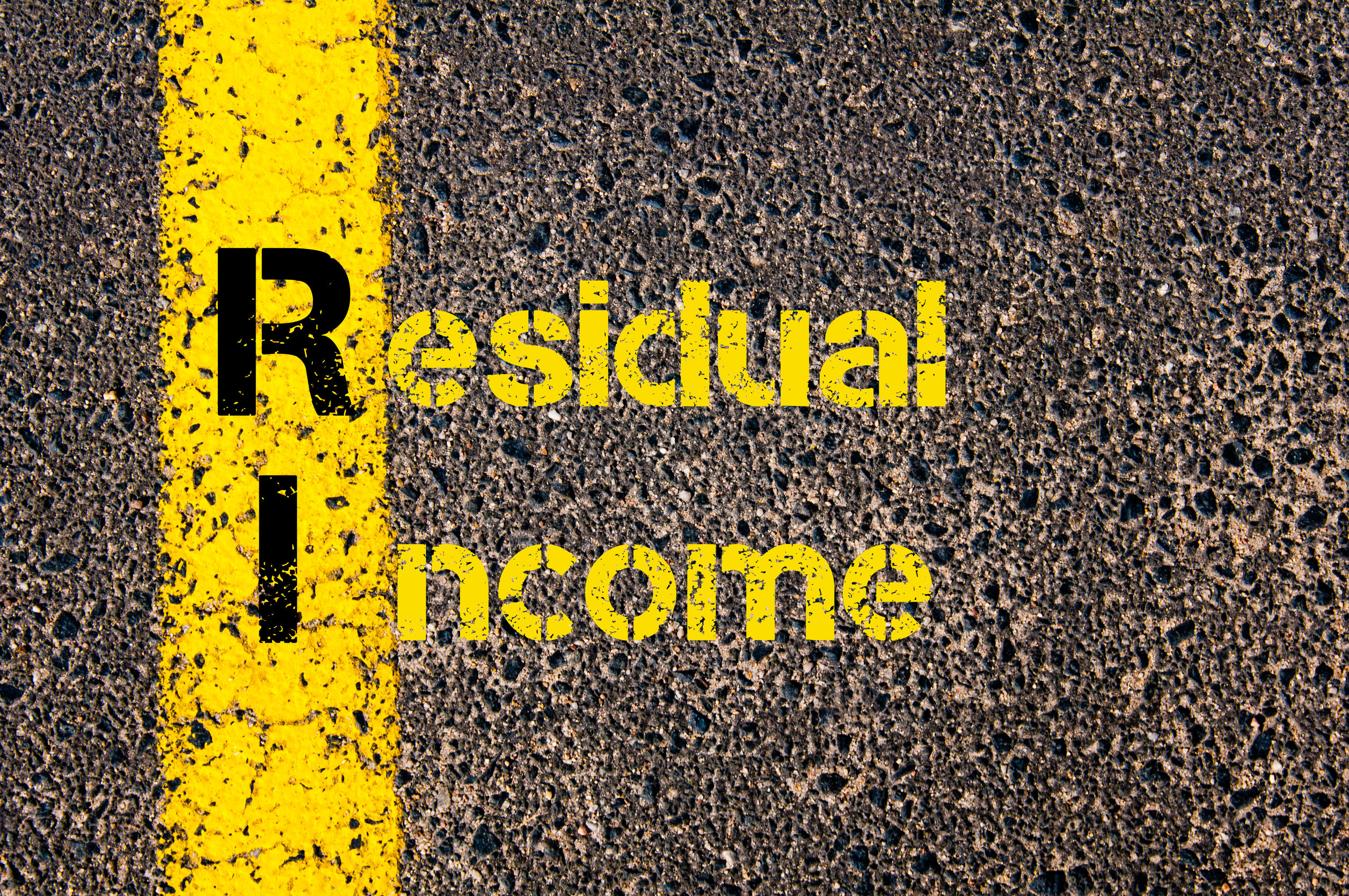 49048913 - concept image of accounting business acronym ri residual income written over road marking yellow paint line.